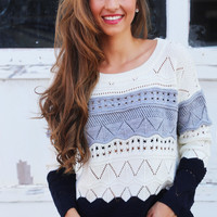 Autumn Trio Sweater {Gray + Navy}