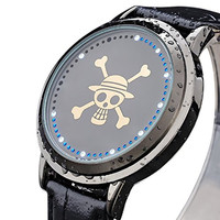 Wildforlife Anime One Piece Straw Hat Pirates Jolly Roger Touch LED Watch