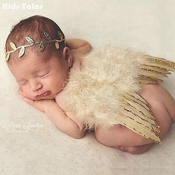 Newborn Photography Prop - Angel Costume - Golden Wings & Ivy Headband