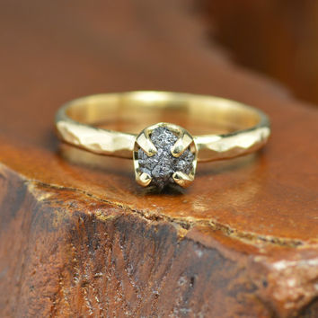 Black Rough Diamond, 14k Gold Ring