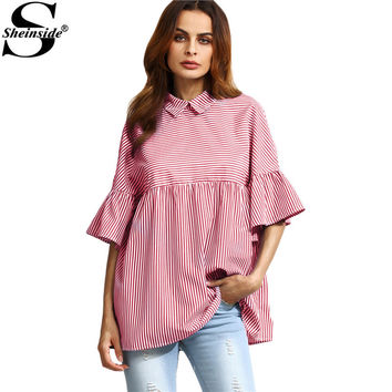 Sheinside Stripe Babydoll Blouse Women Red Ruffle Sleeve Point Collar Cute Summer Tops 2017 Fashion Button Back Casual Blouse