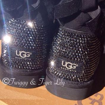 Swarovski Crystal Embellished Uggs in Jet Hematite Crystals - Black Ugg Boots Blinged