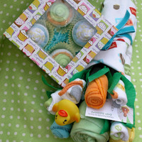 Baby Neutral Clothing Bouquet and Cupcake Gift by babyblossomco