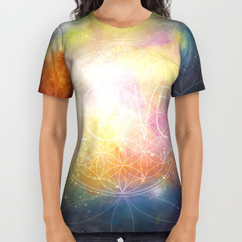 LOVE - Flower of Life All Over Print Shirt by Andreia Treptow Illustrations