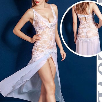 Female Sexy White Bridal See Through Lace Deep V Long Hem Dress Sleepwear Nightdress BabyDoll Honeymoon Chemise