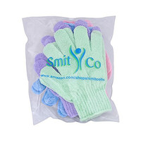 Smitco LLC Exfoliating Shower/bath Beauty Wash Gloves (4 Pairs) for Men and Women - Spa Massage Away Dead Skin Cells, Leaving Your Skin Glowing and Improve Blood Circulation - Essential Body Scrub Before Applying Self Tanner