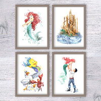 Little Mermaid set of 4 Ariel art print Disney watercolor poster Disney wall decor Nursery room decor Baby shower gift Disney castle V313