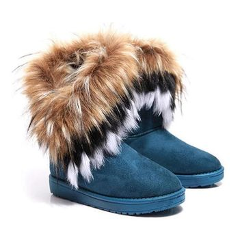 Thick Plush Faux Fox Winter Boots