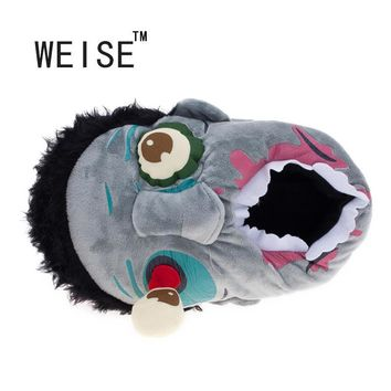 WEISE Free Shipping 1Pair Plush Zombie Slippers / Ravenous Zombie Warm Slippers Funny
