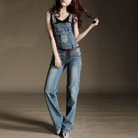 2017 Denim Overalls Women Jeans Fashion Suspender Trousers Loose Jeans Jumpsuits Breathable Straight Rompers Girl Pants
