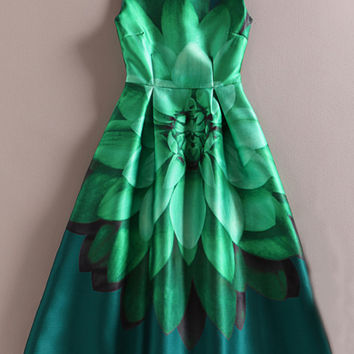 Green Sleeveless Floral Sheath A-Line Pleated Midi Dress