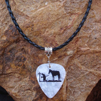 Praying Cowboy with Horse Guitar Pick Necklace - Choice of Color