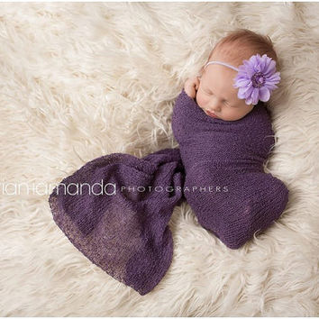 Baby Headband, Newborn Headband, Purple Flower Headband, Lavender Baby Headband, Toddler Headband, Chiffon Flower Headband, Purple Headband