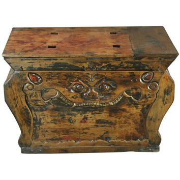 Pre-owned Antique Chinese Trunk Box Coffee Table Carved