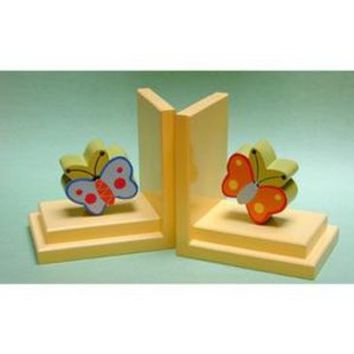 One World Orange And Blue Butterfly Bookends