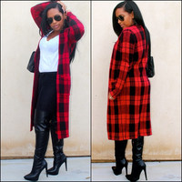 Red Long Sleeve Plaid Coats