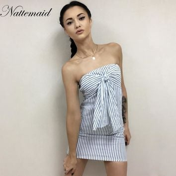 New Women Causal dress striped Front tie up bow mini dresses Ladies Street style Sleeveless
