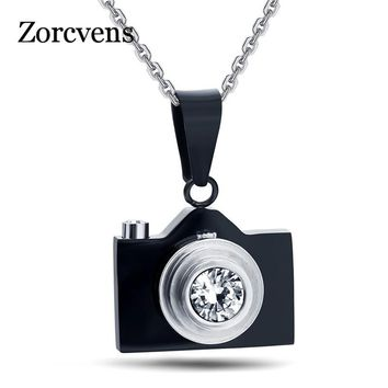 ZORCVENS 2018 New Camera Necklaces Pendants Hot Sale Black / Silver Blue Colors Lovely Stainless Steel Fashion Jewelry