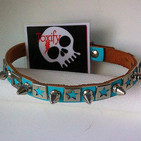 Spiked Dog Collar GENUINE LEATHER  -  Stars Spikes Small Genuine Leather  Pet Accessories