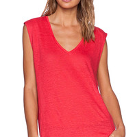 Bobi Solid Linen Tank in Red