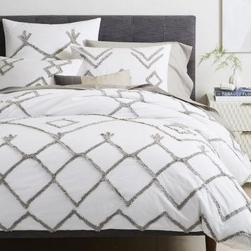 Diamond Lattice Candlewick Duvet Cover + Shams