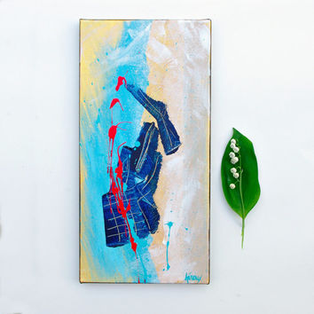Original ABSTRACT Art Painting Blue Red Modern Abstract Wall art on 8x16 canvas