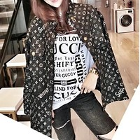 """Louis Vuitton""Lover Unisex Fashion All-match Edgy Cool Geometric Pattern Letter Print Long Sleeve Loose Cowboy Coat"