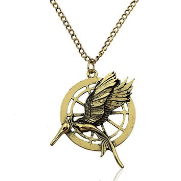 """""""The hunger games catching fire"""" Vintage Retro Two Sides Bird Unisex Necklace"""