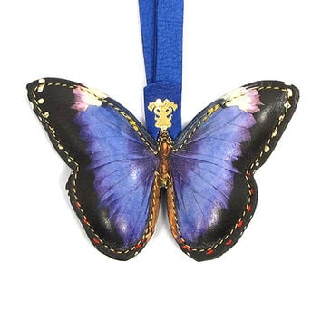 Leather Key Ring / Bag Charm - Royal Purple Butterfly