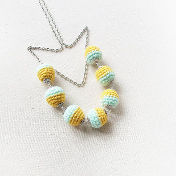 Mint and Yellow Long Crochet Necklace /Trending jewelry / Fashion Necklace/ Eco-friendly jewellry / for women and girls