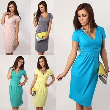 Newest Fashion Women Elegant Celebrity V-neck Short Sleeve Knee-length Casual Stretchy Soft Maternity Bodycon Dresses S.M.L.XL = 1945789444