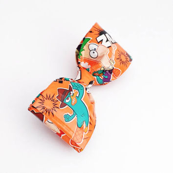 Phineas and Ferb Boy's Clip On Bow Tie, Geek Gifts for Him, Orange Men's Bowtie, Stocking Stuffers, Christmas Gifts, Fun Kids Accessories
