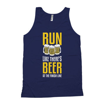 Funny Running Tank Run Like There's Beer At The Finish Line Beer Tank Top American Apparel Tank Muscle Tank Tops Runner Clothing WT-37A