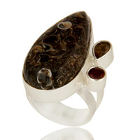 Handmade Solid Sterling Silver Smoky Quartz And Turritella Agate Statement Ring