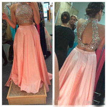 Sexy Two Pieces Prom Dresses High Neck Blush Pink Beaded Crystal Rhinestone Top Bodice Crop Top with Cut Out Open Back Formal