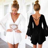 2016 New Lace patchwork Shorts Jumpsuit Women Hollow out Waist Rompers Backless V-Neck Sexy Rompers Women Jumpsuit