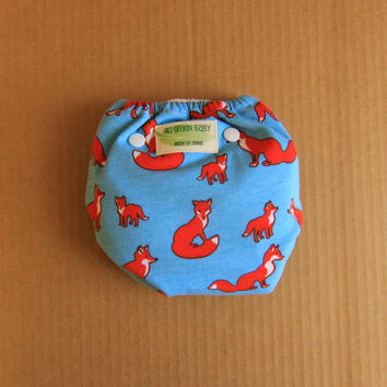 AI2 One Size Foxes w/ Light Blue Background Adjustable Cloth Diaper
