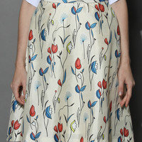 Fly With Tulips Printed Midi Skirt in Ivory Multi