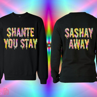 UNISEX Shante You Stay / Sashay Away Rainbow Slimepunk Sweatshirt in Black // RuPaul's Drag Race // fASHLIN