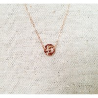 14k Rose Gold Dot Initial Necklace