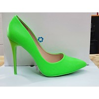 "Fabio Lime Neon Green 4.5"" High Heel Shoes Pointy Toe Pump 7-11"