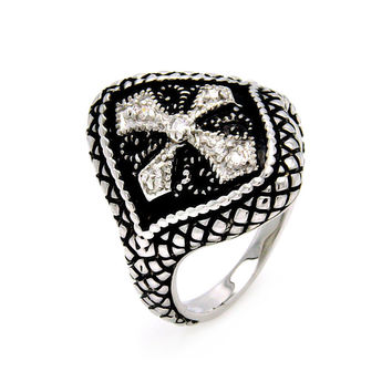 Ladies Jewelry Black Enamel Cross w/ Cubic Zirconia Rhodium Plated Brass Ring Width: 20.1 mm: Size: 5