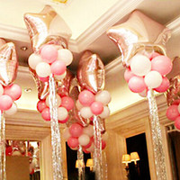 Big Star Balloon+Latex Balloons+Sliver cord ribbon wedding balloons Marriage decoration ballon Mylar Foil balloons set
