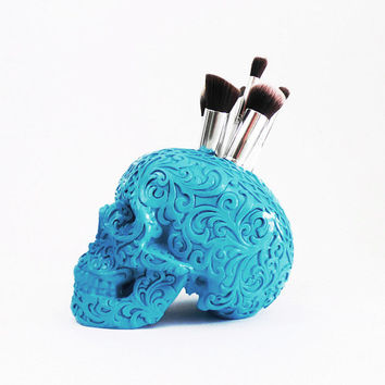 Carved Tribal Skull, Skull, Makeup Assessories, Painted Skull, Replica Human Skull, Skulls, Makeup Brush Holder, Gold Skull, Tribal Skull,