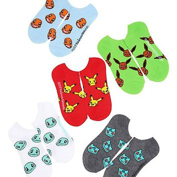 Pokemon Toss Print No-Show Socks 5 Pair