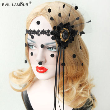 Princess goths lolita accessories Vintage mask Black tassel makeup mask dance will deserve to act the role of  party veil