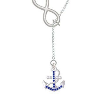 Delight Blue Crystal Anchor Infinity Lariat Necklace