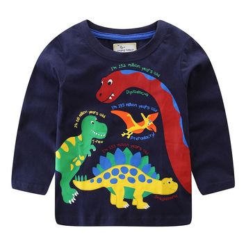 Jumping meters Long sleeve boys t shirts cotton animals printed children clothes autumn blouse baby boys t shirts dinosaur tops