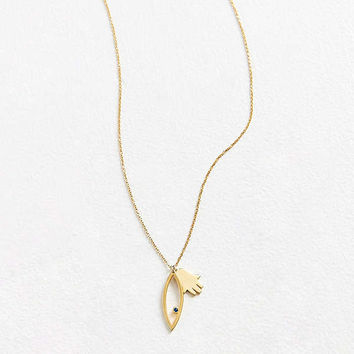 Argento Vivo Evil Eye + Hand Charm Pendant Necklace | Urban Outfitters