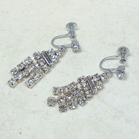 Vintage Rhinestone Fringe Earrings Clear Silver 40mm